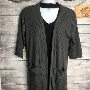 Agnes & Dora Gray 3/4 Sleeve Open Cardigan SZ XL